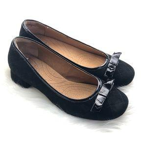 Clark's Quilted Suede Low Heel Ballet Flats
